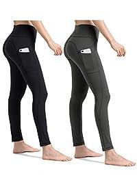 ALONG FIT Yoga Pants for Women mesh Leggings with Side Pockets High Waisted Leggings