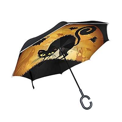 Sunmoonet Reverse Umbrella, Halloween Cat Bats, Outdoor Windproof Double Layer Inverted Umbrella Rain Protection Upside Down Car Reverse UV Umbrellas for Men Women