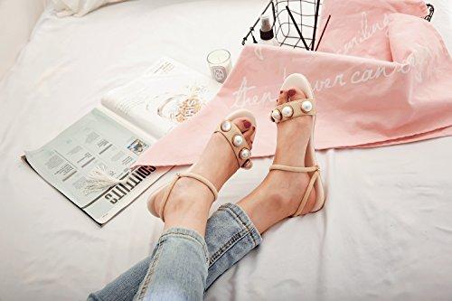 mujer Comfort de de mezclilla Primavera Peep cuero Zapatos imitación de Oficina para perlas vestido Otoño carrera Bottom Toe fondo el nobuck plano de y Do qEz5d54w