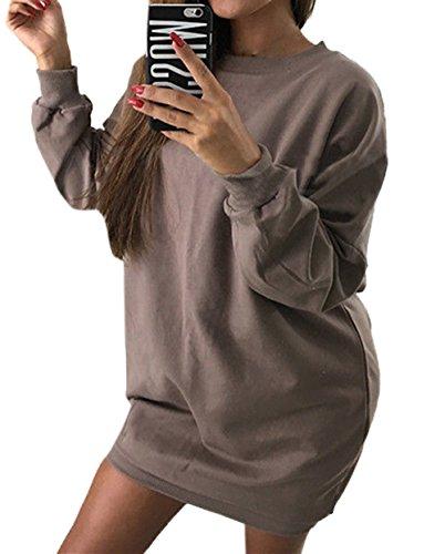 Simple-Fashion Autunno e Inverno Donna Lunga Maglione Moda Tinta Unita Maglieria Mini Vestiti da Partito Quotidiani Casual Rotondo Collo Manica Lunga Felpe Jumper Tunica Pullover Sweater Marrone