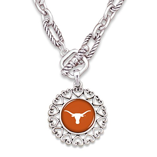 FTH Texas Loghorns Silver Tone Necklace With Round Logo Charm Outlined in Hearts