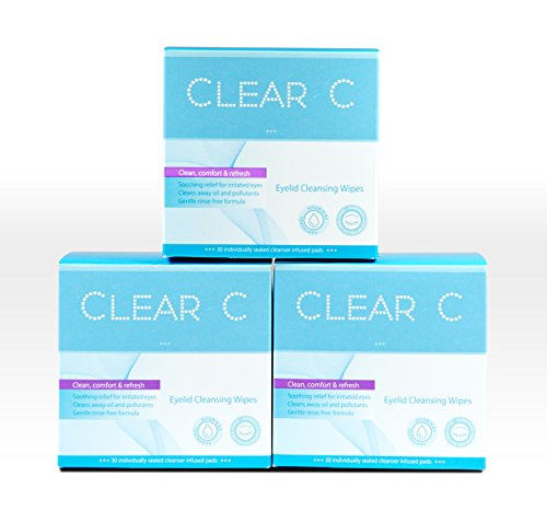 Clear C Premium No Rinse Non Irritating Eyelid Wipes 30count x 3 - Pre-moistened Pads for Dry Eyes, Red Eyes, Daily Use. 3 Boxes of 30 Individually Wrapped Wipes, Bulk Discount Combo ()