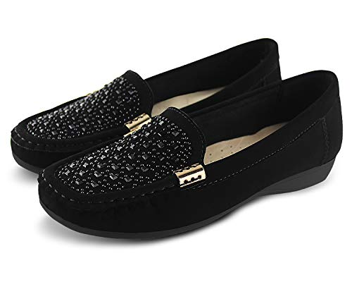 JABASIC Women Penny Moccasins Loafers Comfortable Slip On Driving Flats Shoes(8,Black-2)