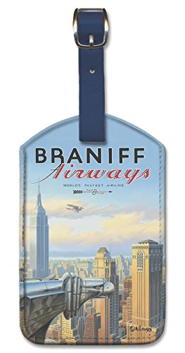 Leatherette Vintage Art Luggage Tag - Braniff New York by Kerne Erickson