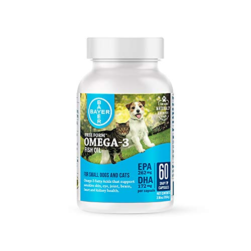 Bayer Free Form Snip Tips Omega-3 Supplement for Small Dogs and Cats, 60 count ()