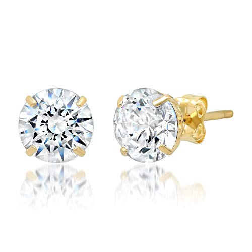 14k Solid Yellow Gold ROUND Stud Earrings with Genuine Swarovski Zirconia | 2.5 CT.TW. | With Gift Box