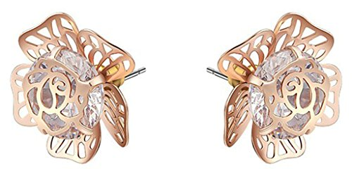 KnSam Earring Jewelry Gold Plated Womens Stud Earring Rose Gold Austrian Crystal Flowers Earring Birthday 1.6X1.6CM