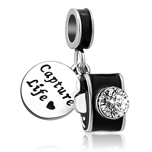 CharmSStory Camera Travel Capture Life Dangle Charm Bead for Charm Bracelet (Black)