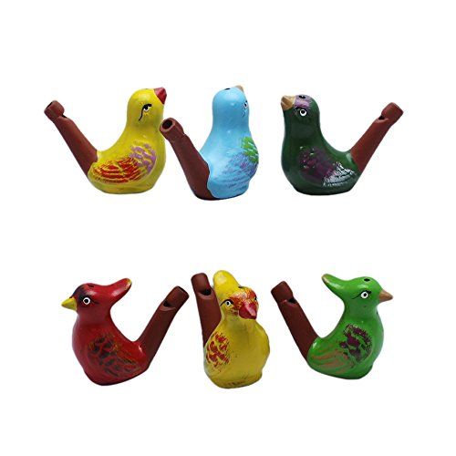 INNODEPT12 Ceramic Bird Warbler Water Whistle Clay Ocarina Kids Bath Time Gifts Set of 6