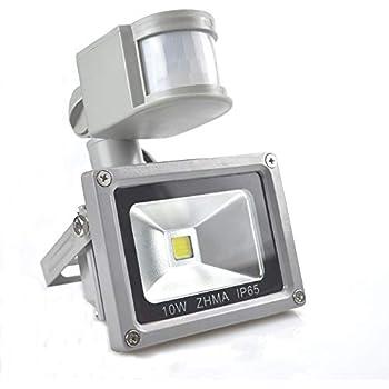 [New Design] ZHMA Motion Sensor Flood Lights,12V10W Outdoor LED Flood Lights,Smart PIR Outdoor Security Floodlight,700lm, 100W Equivalent Bulb, ...