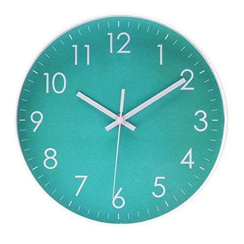 Filly Wink Simple Wall Clock Sweep Second Hand Non Ticking Battery Operated Easy to Read Decor Kitchen,Bathroom,Office 10 Inch Turquoise (Wall Clock Turquoise)