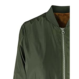 makeitmint Women's Long Lightweight Zip Flight Spring Bomber Jacket w/ Pockets MEDIUM YJZ0033_33NAVY