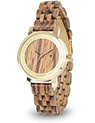 LAiMER Womens Wooden Watch JENNI - Wrist Watch made of natural Zebrano Wood with stainless Steel Case and Swarovski...