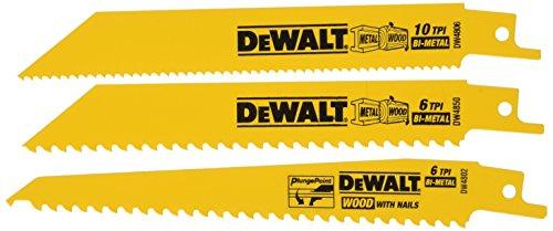 DEWALT DW4853 Woodcutting Reciprocating Saw Blade Set, 3-Piece (Blade General Wood Reciprocating Purpose)