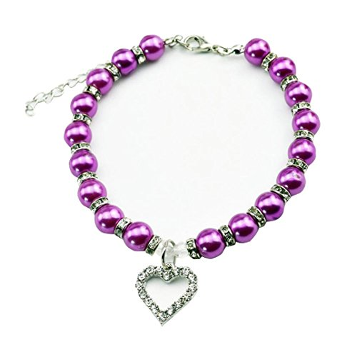 Wakeu Diamond Heart Rhinestone Crystal Rhinestone Pendant Pearl Collars Necklace for Small Dog Girl (S/Length:25cm/9.8