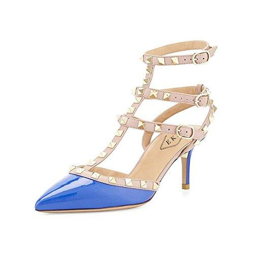 Blau EKS Mujer Patent Sandalias EKS Sandalias xX4dwqavv