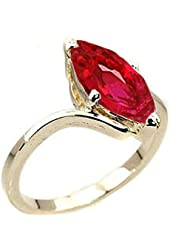 7.2 cw CZ, 14k Gold Overlay Red CZ Ring
