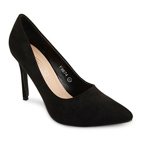 Tilly Shoes punta tacón BODA novia Prom Smart trabajo fiesta noche Oficina de Trabajo Zapatos Bombas Tamaño negro