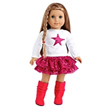 Pink Star - 3 piece outfit -White Blouse, Pink Skirt and Hot Pink Boots - 18 inch doll clothes (doll not included)