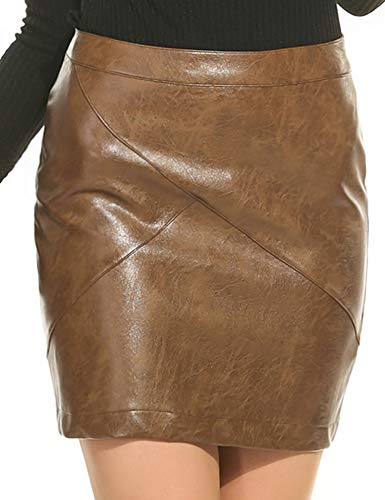 - Zeagoo Women Basic Versatile Faux Leather Bodycon High Waisted Pencil Skirts Camel M