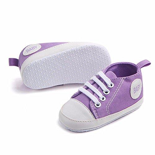 3 Baby Pasos Zapatillas Antideslizantes Bebe Con Niño Color De Púrpura 15 Niña Sólido Zapatos Primeros Meses Cordones Lona rpZrPnv
