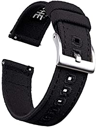 22mm Canvas Quick Release Watch Band Black Replacement Watch Straps for Men Women