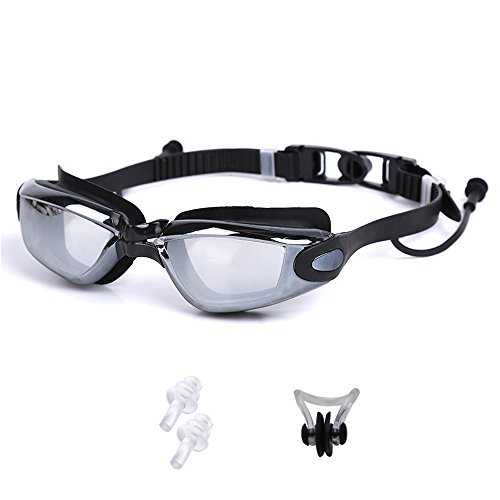 Swimming Goggle Anti-Fog UV Protection Comfortable Fit For Adults Men Women Youth Kids Children (Black - Giles Sunglasses
