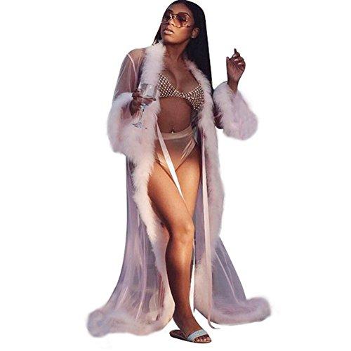 C-Pioneer Sexy Women Long Sleeve Lace Dress Silk Underwear Lingerie Robe Set Nightdress Sleepwear Gift (Pink) (Set Pink Lingerie)