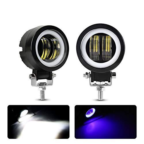 Motorcycle Headlight LED Fog Light 3 inch Round Blue Angel