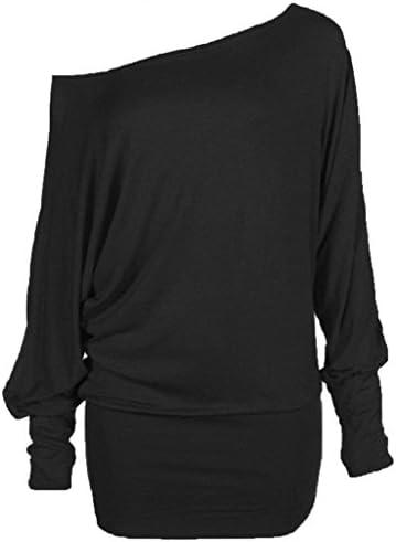 ZJ Clothes Plus Size Women Long Sleeve Off Shoulder Plain Batwing Tunic Top – The Super Cheap