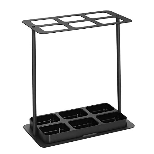 SONGMICS Metal Umbrella Stand, 6-Hole Umbrella Holder with Thickened Iron Base, ABS Plastic Removable Drip Tray, Stable, 15.7 x 8.3 x 16.5 Inches, Black ULUC60BK