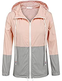 Women's Waterproof Raincoat Outdoor Hooded Rain Jacket Windbreaker (15 Colors S-XXL)
