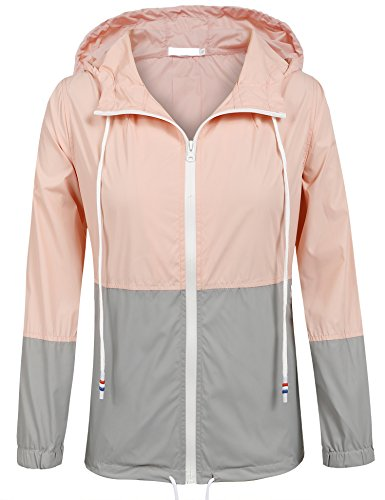SoTeer Womens Lightweight Hooded Raincoat Active Outdoor Waterproof Jacket (Pink/Gray S)