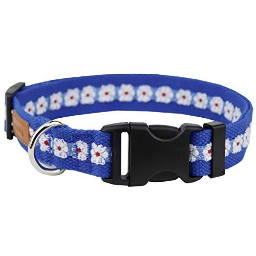 Egoola Floral Dog Collar Adjustable Flower Pattern Basic Dog Collars Personalized Spring Pet Collar for Size Small…