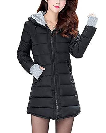 DA2S Down Jacket Coat Winter Hood Long Warm Padded Women Black 16