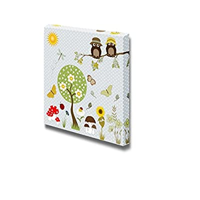 Canvas Prints Wall Art - Background with Flowers, Butterflies, Owls and Tree - 16