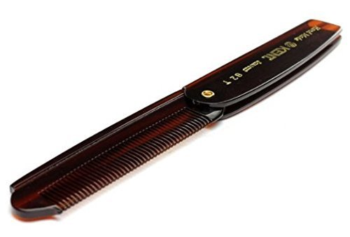 Kent 82T 200mm Handmade Sawcut Fine Toothed Mens Men Folding Pocket Hair Comb by Kent