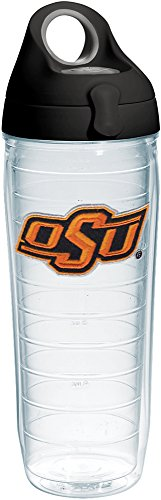 - Tervis 1231763 Oklahoma State Cowboys Athletic Logo Insulated Tumbler with Emblem and Black with Gray Lid, 24oz Water Bottle, Clear