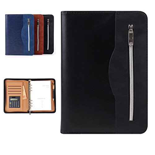 - Gift for Men,SAYEEC A5 Executive Conference Folder Travel Portfolio Ringbinder Folio Zip Around PU Leather Loose Leaf Refillable Lined Paper Business Notebook Zipped Organiser with Calculator