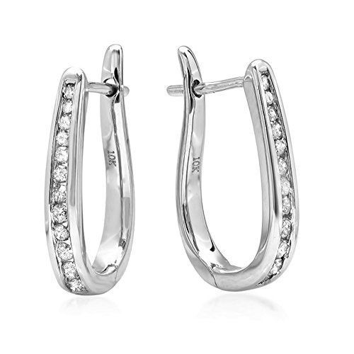 - AGS Certified 1/4ct Diamond Hoop Earrings in 10K White Gold