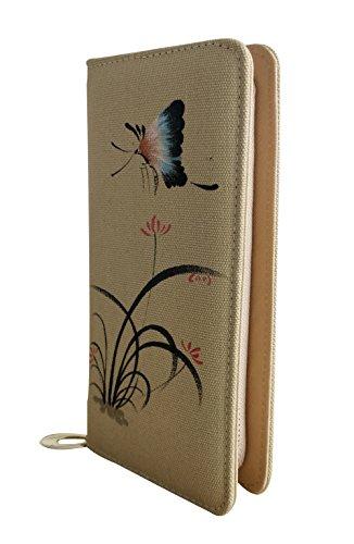 Butterfly Purse Painted Zip Orchid Holder Khaki Wallet Around Ladies Card HeySun q1wUXg7g