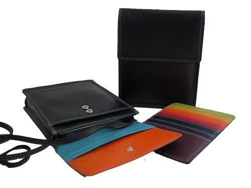 Multi-coloured Neck Purse style 7-131 (Black Tropical)
