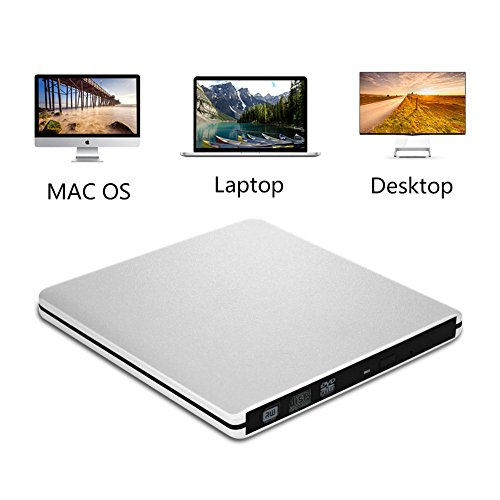 Ultra Slim USB 3.0 External DVD Drive external DVD Drive Optical Drive CD+/-RW DVD +/-RW Superdrive ,compatible with Windows, XP laptop, desktop and netbook (Silver) by tengertang (Image #2)