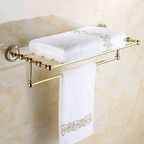 Soap Container 801G Series Gold Polished Copper Bathroom Accessories Towel Shelf Towel Bar Paper Holder Cloth Hook Soap Dish Cup Holder, 8inch Mirror only (Color : Only Towel Rack) ()