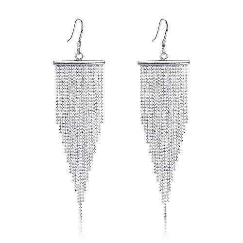 Long Beaded Tassel Earrings - 925 Sterling Silver Hook Bohemian Statement Drop Earrings for Women Gift Amazing 925 Sterling Silver Earring