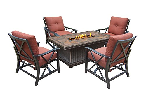 """52"""" 5 pc. Rustic and Cozy Rectangular Outdoor Deep Sitting Fire Pit Chat Set..."""