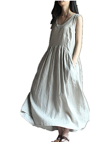 Linen Long Dress - Boho Vintage V-Neck Sleeveless Women Summer Cotton Linen Maxi Dress Long Loose Skirt (L, White)
