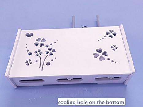 Bo/îte murale de rangement d/écorative pour routeur WiFi Bois dense Small Stripe WIFI Router Shelf//TV Set-Top Boxes Revesun