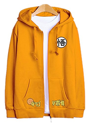 X-FOX Men's Goku Cosplay Couple Hoodies Zip Up Hoodie Medium Yellow