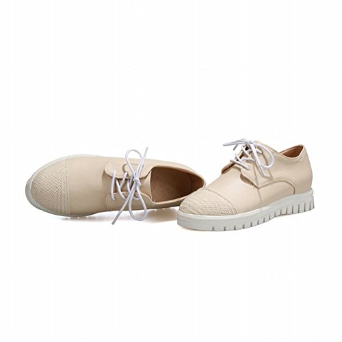 Show Glans Womens Mode Söta Oxfords Skor Beige